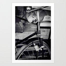 Bicyclette vintage retro bike black and white Art Print