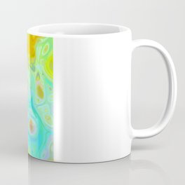 Emerging Galaxies – Abstract Teal & Lime Currents Coffee Mug