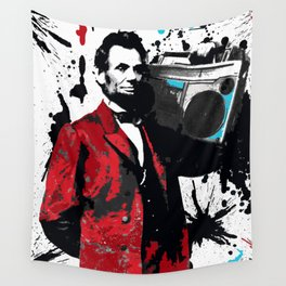 ABRAHAM LINCOLN INK SPLASH RED MAKE MUSIC NOT WAR Wall Tapestry