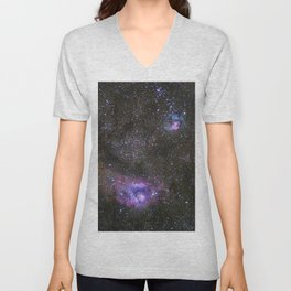 Lagoon and Trifid Nebula in Sagitarius Unisex V-Neck