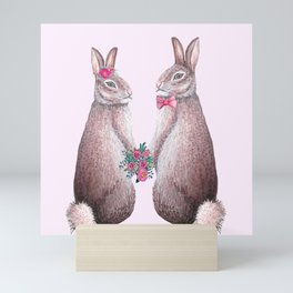 Valentines day Rabbits in love, bride and groom, watercolor, wedding, engagement, romantic Mini Art Print