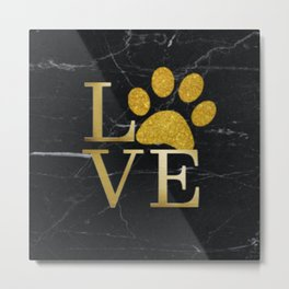 Love is a Four Letter Word - Black and Gold Metal Print