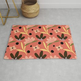 Colorful floral Cut Out Flowers and Leaves fabric Orange Black Rug