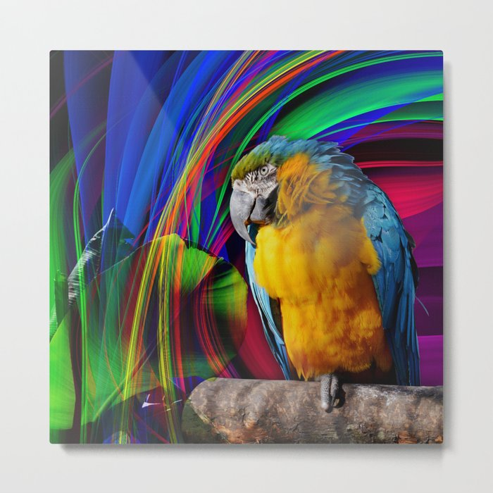 Parrot in a tropical fantasy. Metal Print