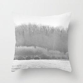 November Morning Hay Bales Throw Pillow