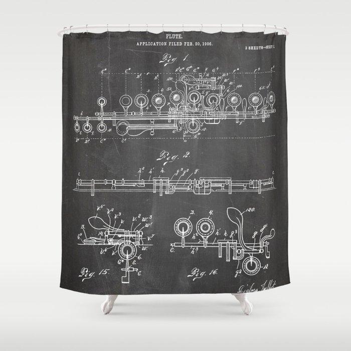 Flute Patent - Musician Art - Black Chalkboard Shower Curtain