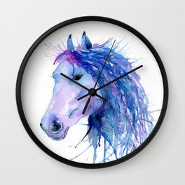 Watercolor Abstract Horse Portrait Wall Clock