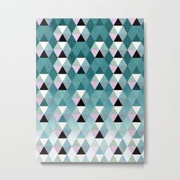 Geometric Prisme Pattern - Teal & Pink Metal Print