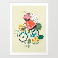 bee Art Prints featuring Bee by ilana exelby
