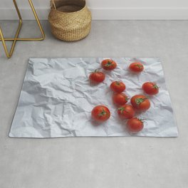 Red ripe tomatoes white paper Rug