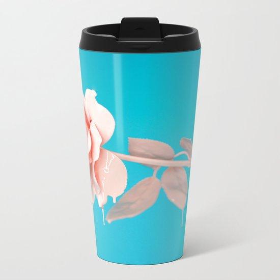 Pastel rose drip Metal Travel Mug