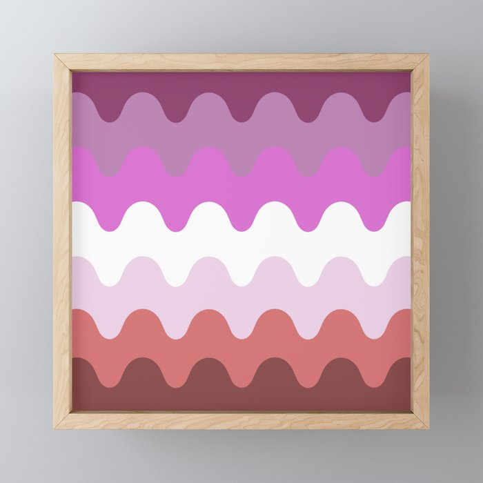 Wavy Lesbian Flag. Framed Mini Art Print
