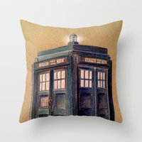 tardis Throw Pillows featuring TARDIS by Jordan