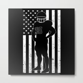 USA American Flag Football Player Silhouette Metal Print