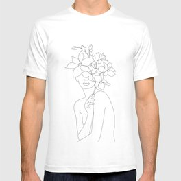 Minimal Line Art Woman with Orchids T-shirt