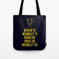 neymar Tote Bags featuring Barcelona Champions - Berlin 2015 by Barbo's Art