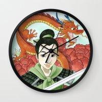 mulan Wall Clocks featuring Mulan by Aimee Steinberger