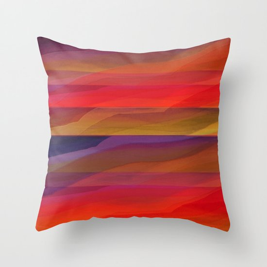 Seascape in Shades of Red and Purple Throw Pillow by Jennifer Warmuth Art And Design Society6