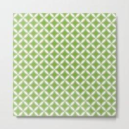 Greenery Green and White Geometric Circles Metal Print