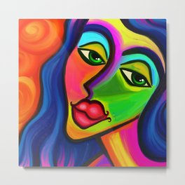 Abstract Fauvist Portrait Metal Print