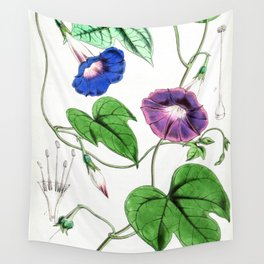 A Purging Pharbitis Vine in full blue and purple bloom - Vintage illsutration Wall Tapestry