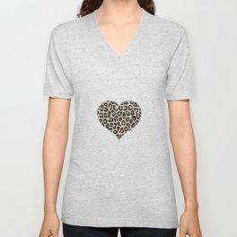 Cheetah Pattern Heart Leopard Fur Heart Shape Animal Print Unisex V-Neck