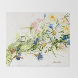 Bouquet of Wildflowers Original Colored Pencil Drawing Throw Blanket