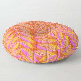 Hot Tropics - Orange Pink Tropical Vines Floor Pillow