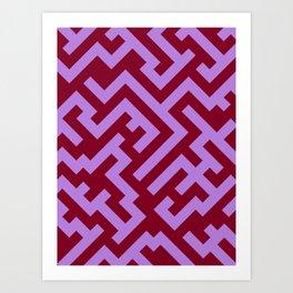 Lavender Violet and Burgundy Red Diagonal Labyrinth Art Print