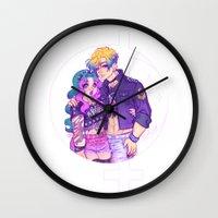 pastel goth Wall Clocks featuring Pastel Goth Haruka & Michiru by Gunkiss