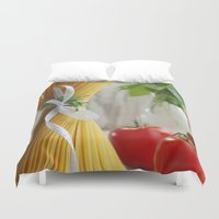 pasta Duvet Covers featuring delicious pasta by Tanja Riedel
