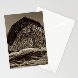 Antique Farm Building in Sepia Stationery Cards