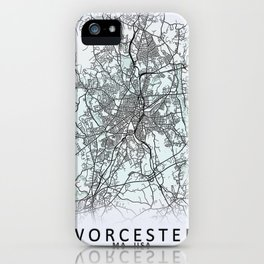 Worcester, MA, USA, White, City, Map iPhone Case