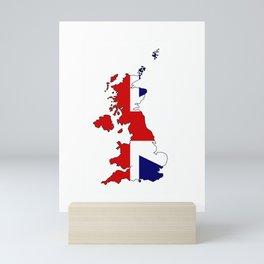 United Kingdom Map and Flag Mini Art Print