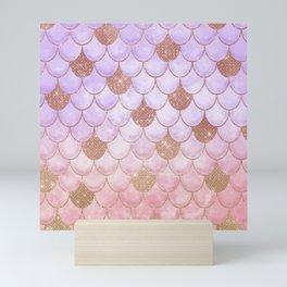 Glam Girly Rose Gold Glitter Mermaid Scales Mini Art Print