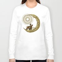 the moon Long Sleeve T-shirts featuring Moon Travel by Eric Fan