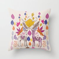 Fall in Love with Fawns Throw Pillow