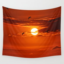 Red Sunset2 False Bay Wall Tapestry