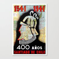 chile Canvas Prints featuring CHILE by Kathead Tarot/David Rivera