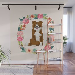 border collie brown floral wreath dog gifts pet portraits Wall Mural