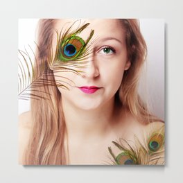 woman with peacock feather Metal Print