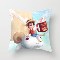luffy Throw Pillows featuring Straw Hat Luffy by Amber Graves