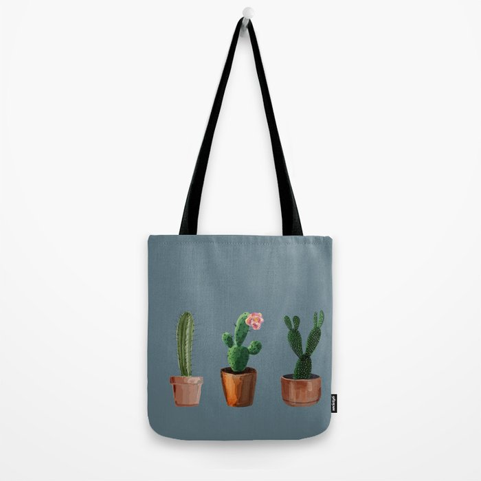 Three Cacti On Blue Background Tote Bag