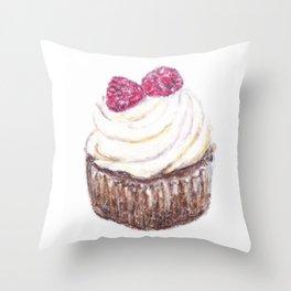 Raspberry cupcake Throw Pillow