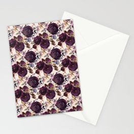 Small Burgundy Blossom Bouquets on Soft Pink  Stationery Cards