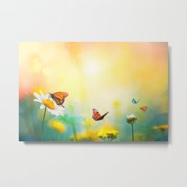 Flowers With Butterflies in the spring garden illustration Metal Print
