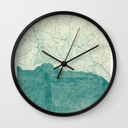 Lausanne Map Blue Vintage Wall Clock