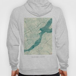 Quebec City Map Blue Vintage Hoody