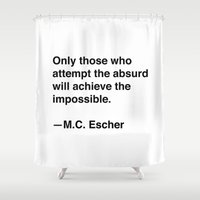 escher Shower Curtains featuring M.C. Escher on the Absurd by Quotevetica