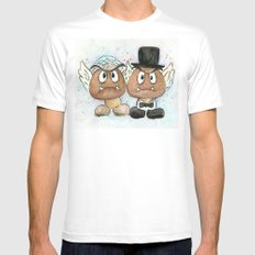 Goombas Bride and Groom, Nintendo Geek Wedding White Mens Fitted Tee SMALL